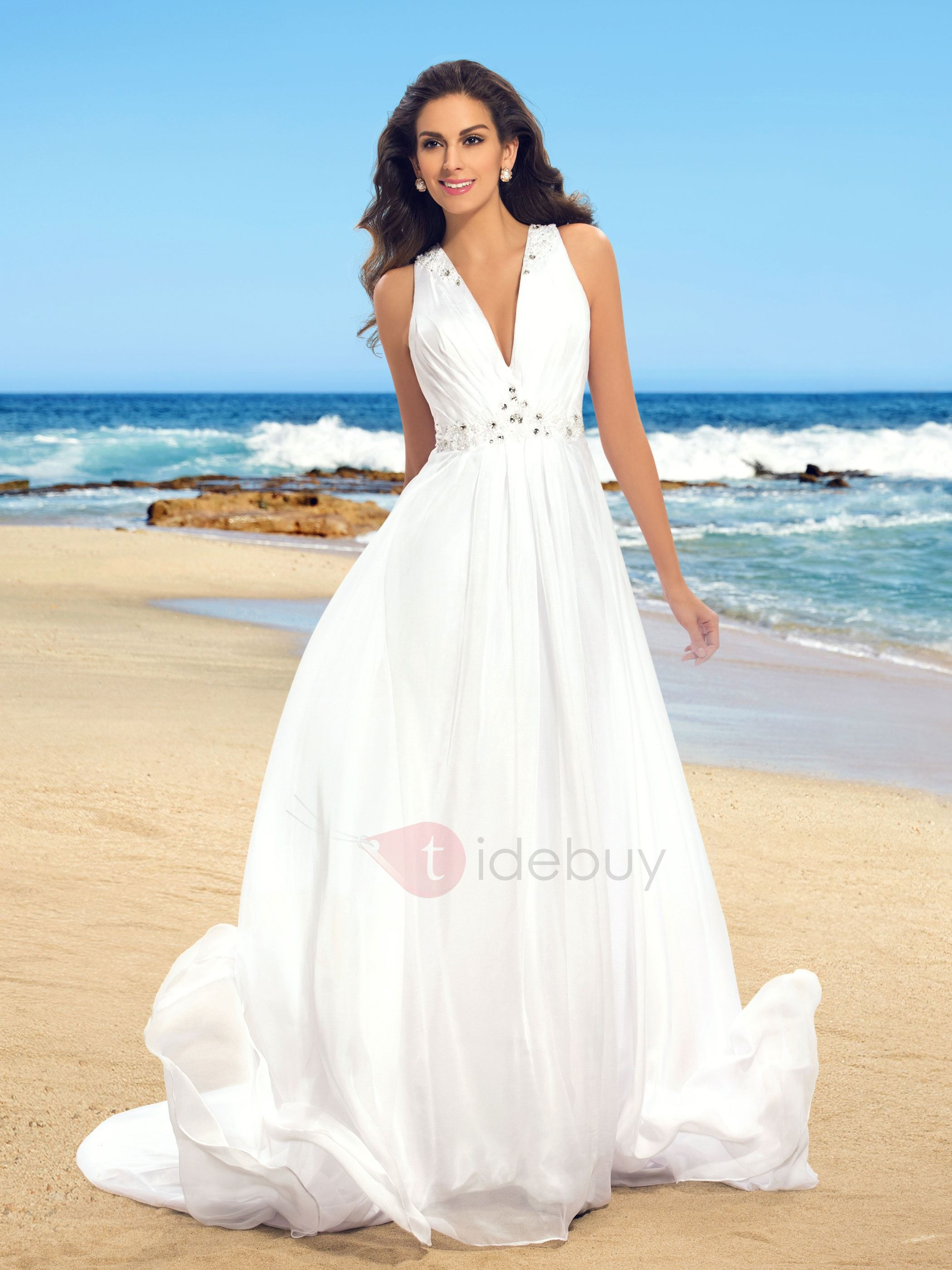 Hot Sale Sheer Back Beaded V-Neck Beach Wedding Dress