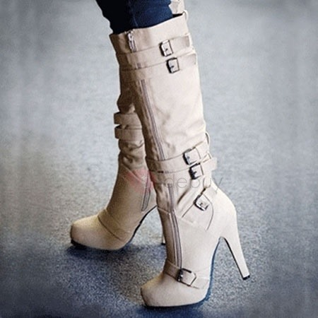 Apricot Zipper Stiletto Heel Boots With Buckles