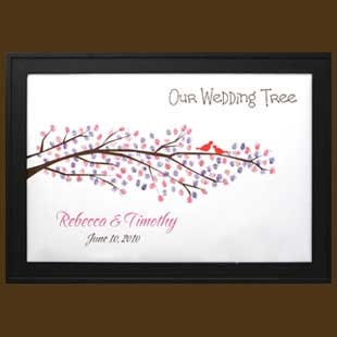Personalized Wedding Thumbprint Tree with Love Birds Signature Frame ...