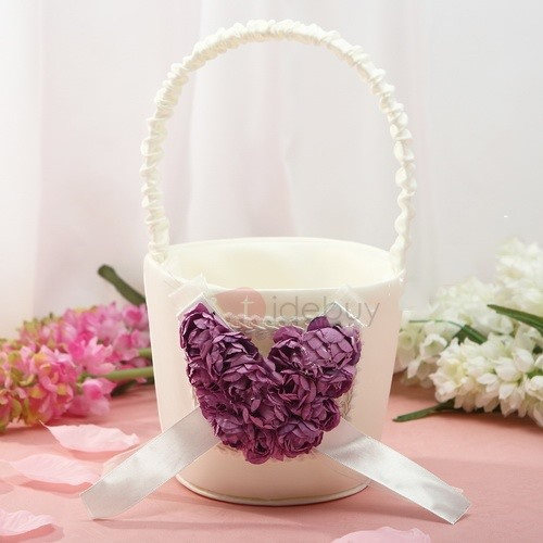 White Flower Basket in Satin
