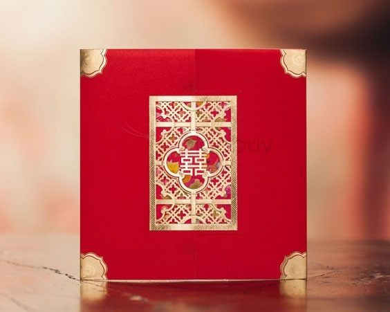 Red Wrap & Pocket Invitation Cards (20 Pieces One Set)