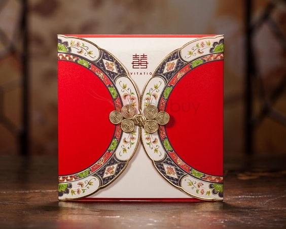 Classic Style Red Wrap & Pocket Invitation Cards (20 Pieces One Set)