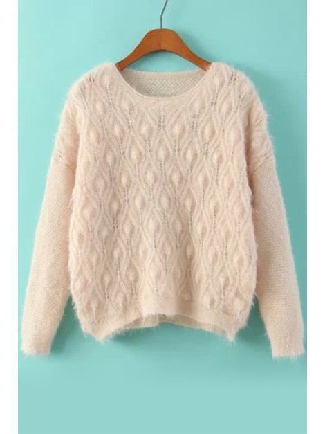 Solid Color Mohair Long Sleeve Sweater