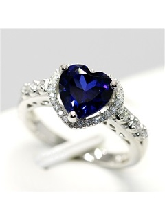Luxury Heart Shaped Blue Sapphire Women Engagement/Wedding Silver Ring