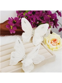 White Butterfly-Shaped Hair Clip 3