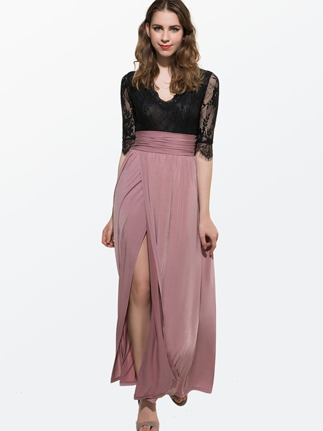 V-Neck Lace Patchwork Women's Maxi Dress