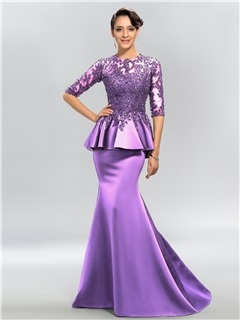 Jewel Neck Appliques Sequins Half Sleeves Evening Dress
