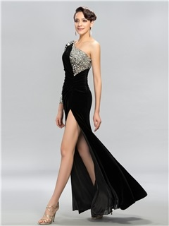 Classy One-Shoulder Long Sleeves Split-Front Long Evening Dress Designed