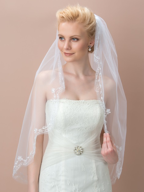White Bridal Elbow-Length Veil