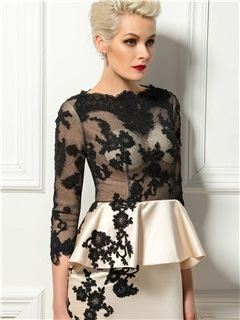 Elegant Bateau Neck Appliques 3/4 Length Sleeves Cocktail Dress