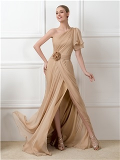 Dazzling One-Shoulder Split-front Long Champagne Long Evening Dress