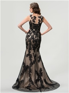 Vintage Scoop Neck Lace Appliques Trumpet Zipper-Up Long Evening Dress