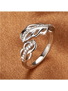 Elegant Feather Shaped 925 Sterling Silver Women's Ring