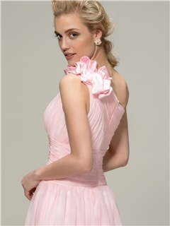 Simple Style Ruched One Shoulder A-Line Long Bridesmaid Dress