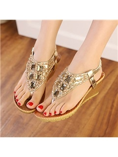 Bohemia Crystal Wedge Sandals