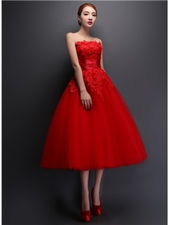 Tidebuy Strapless Lace A-Line Tea-Length Prom Dress