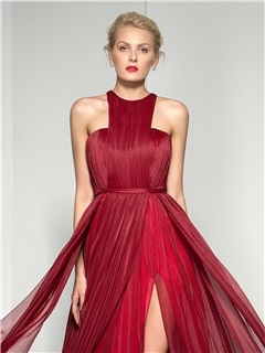 Stunning Jewel Neckline Pleats Split-Front A-Line Long Evening Dress