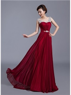 Tidebuy Modern Straps Crystal A-Line Sweep Train Long Prom Dress