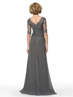 Half Sleeve Appliques A-Line Floor-Length Mother of the Bride Dress
