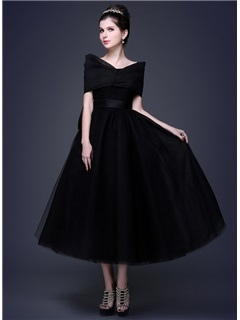 Tidebuy Timeless Straps Bowknot A-Line Lace-up Tea-Length Prom Dress