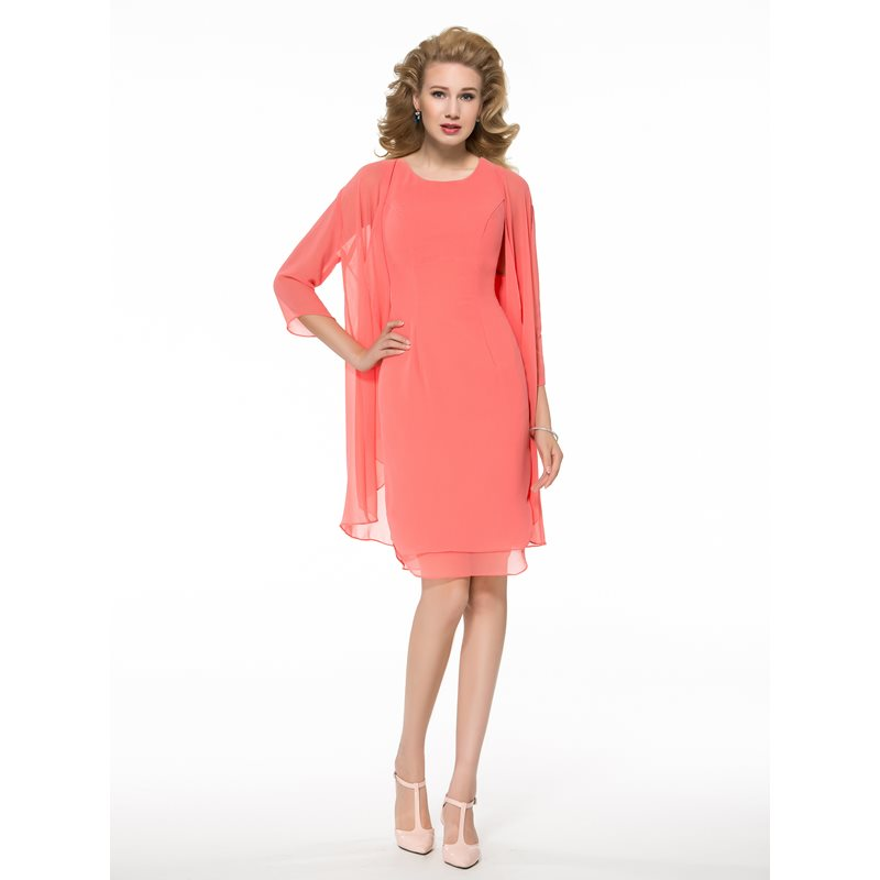Casual Knee-Length Mother of the Bride Dress with Jacket