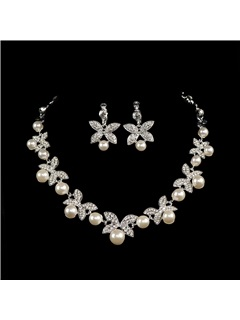Stylish Pearls and Rhinestone Alloy Wedding Jewelry Set (Including Necklace and Earrings)