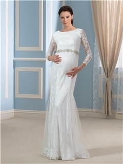 Modern Trumpet/Mermaid 3/4 Length Sleeve Lace Beading Pregnant Wedding Dress