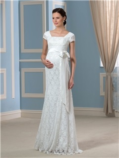 Empire Waist Cap Sleeves Floor-Length Lace Maternity Wedding Dress