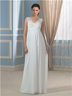 Casual Chiffon Empire Waist V-Neck Appliques Lace Maternity Wedding Dress 1