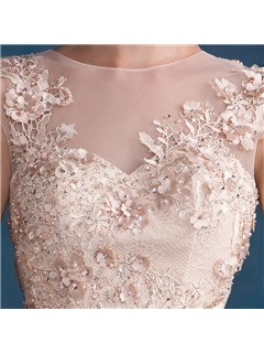 A-Line Round Neck Lace Flowers Beading Button Long Evening Dress