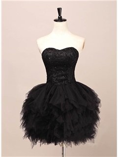 Sweetheart Lace Beading Tiered Black Cocktail Dress 6