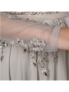 A-Line Appliques Sequins Long Sleeves Backless Long Evening Dress