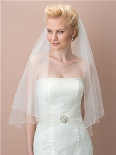 Beaded Edge Ivory Tulle Wedding Veil