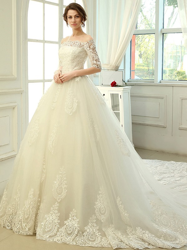 Off the Shoulder Cathedral Train Appliques Wedding Dress