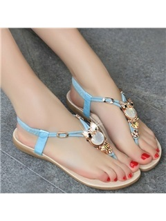 Owl Embellished Thong Flat Sandals