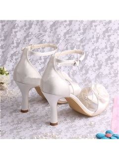 Floral Open Toe Ankle Strap High Heel Wedding Shoes