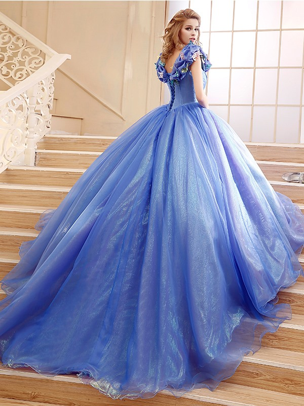 Ball Gown Pick-ups Appliques Quinceanera Dress