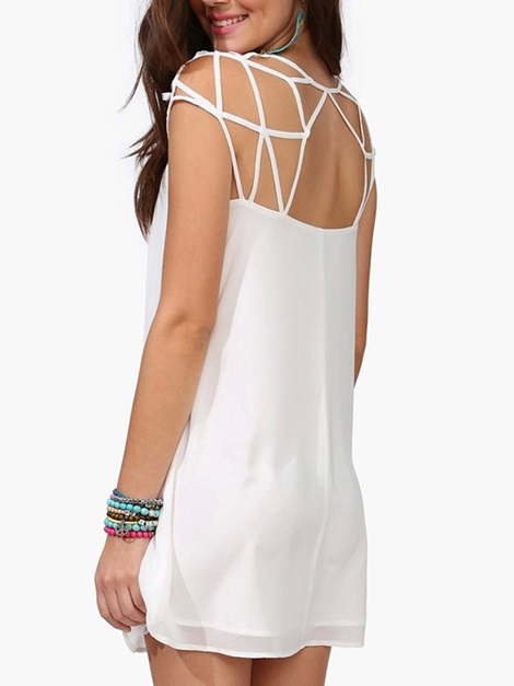 Solid Color Sleeveless Cut Out Shift Dress