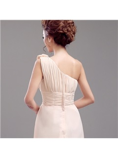 Floor Length A-Line Pleated Long One Shoulder Bridesmaid Dress