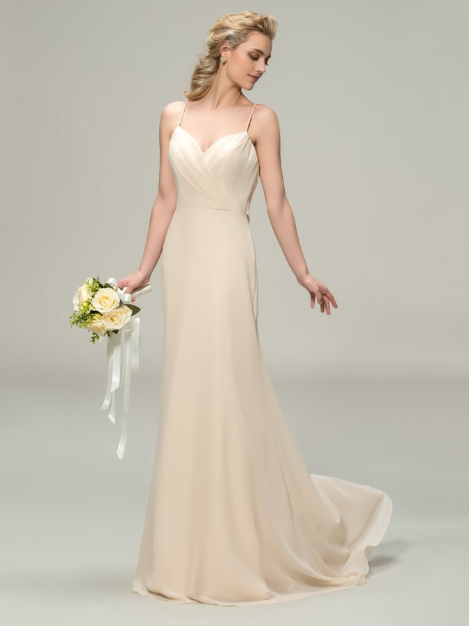 Spaghetti Straps Sheath Long Bridesmaid Dress