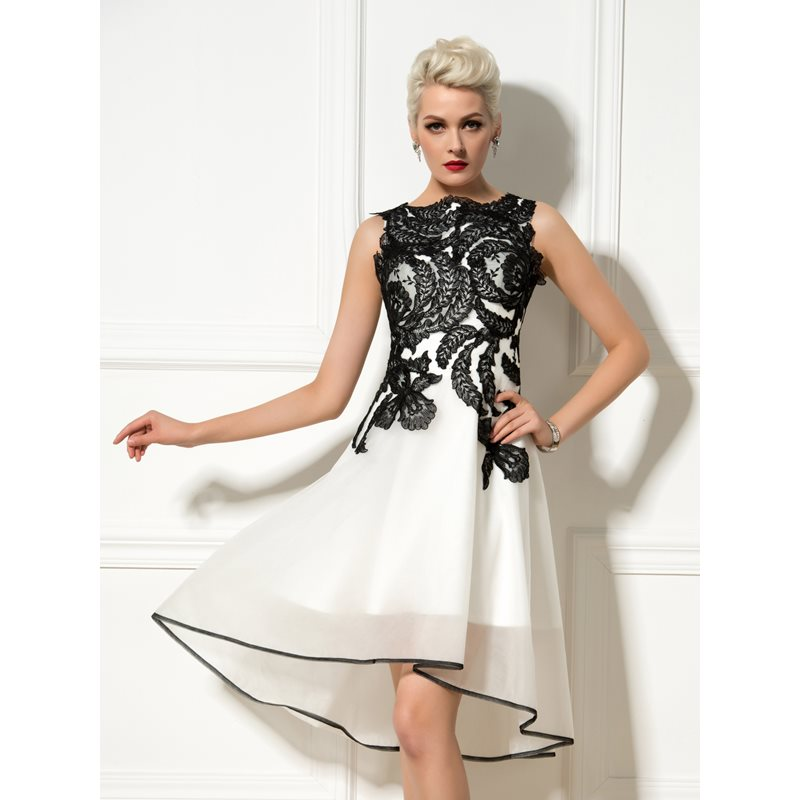 Image of A-Line Bateau Appliques Asymmetrical Cocktail Dress