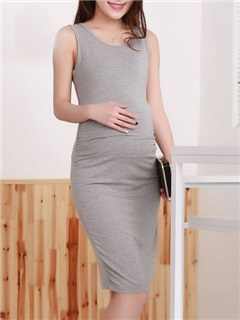 Solid Color Sleeveless Maternity Dress