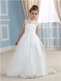 Chic Beaded Lace High Collar Neck Open Back Ivory Flower Girl Dress