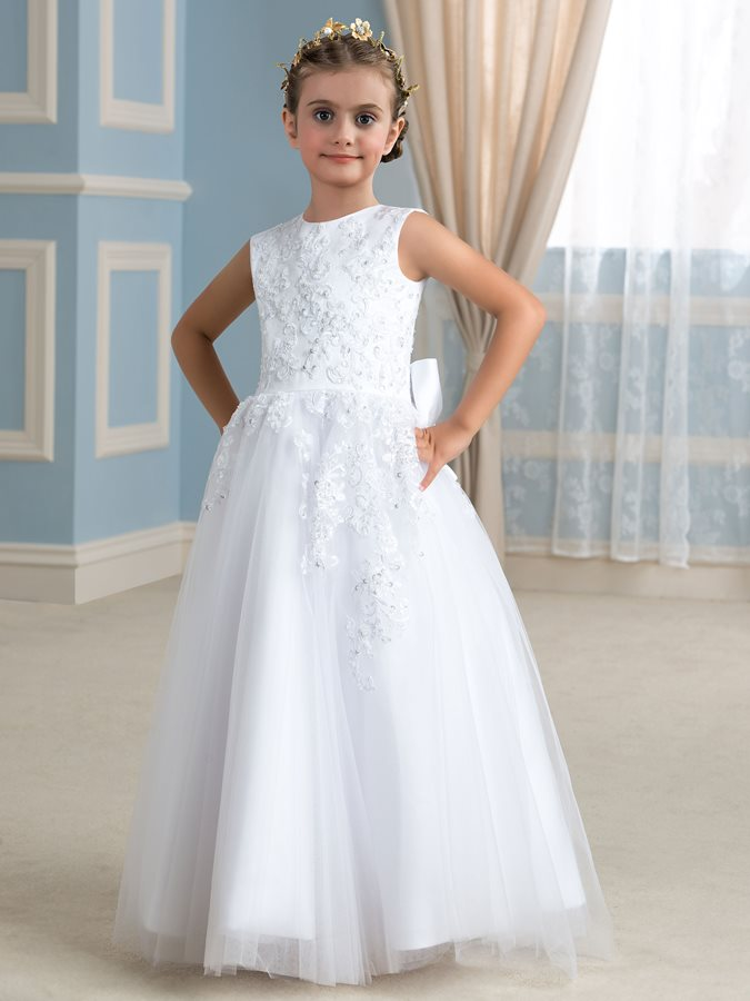 Beaded Lace Top Bowknot White Tulle Flower Girl Dress Tidebuy