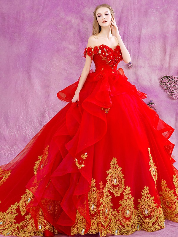 Beaded Appliques Off the Shoulder Red Wedding Dress