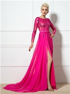 Ladylike Bateau Neck Sequined Appliques Long Sleeves Split-Front Long Evening Dress