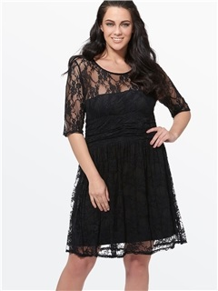 Lace Half Sleeve Contrast Plus Size Women's Dress 18