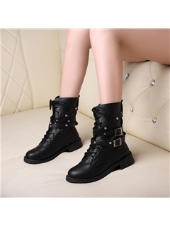 Black Rivets Lace-Up Women's Motorcycle Boots