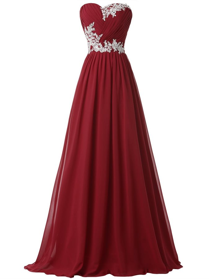 Sweetheart Pleats Appliques Lace-Up Prom Dress