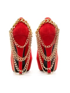 Suede Metal Chain Platform Pumps
